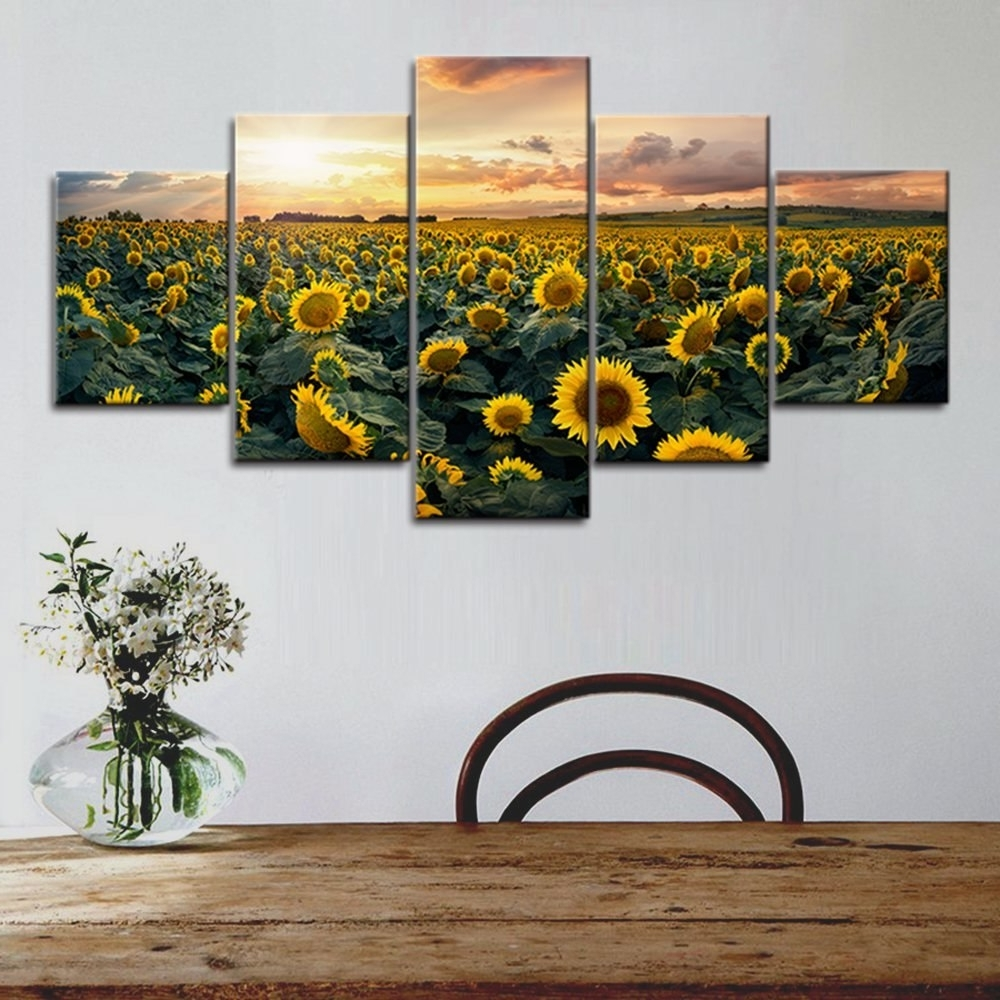 Most Up To Date Canvas Print Wall Art Painting For Home Decoration Bright Sunflower With Regard To Sunflower Wall Art (View 5 of 20)