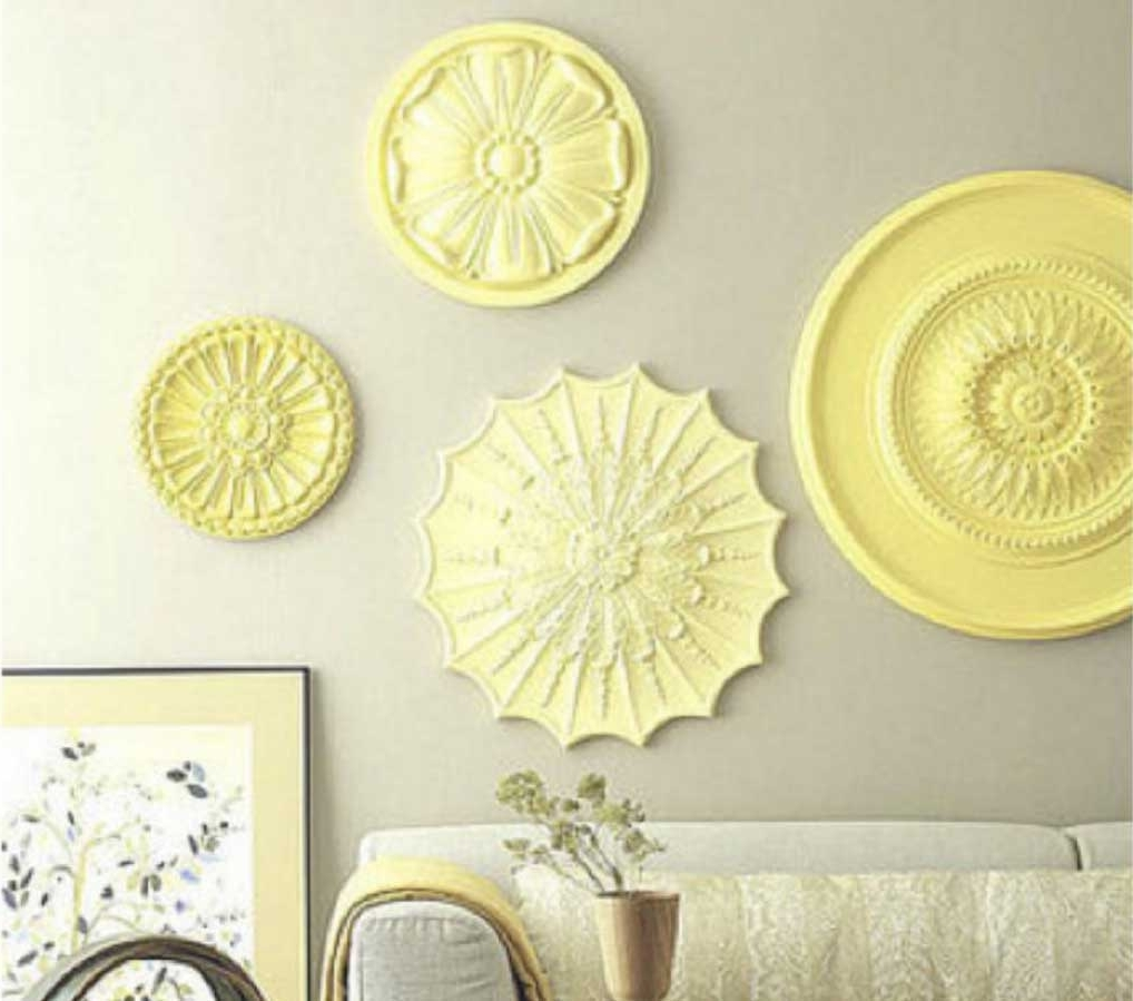 Most Up To Date Ceiling Medallion Wall Art Inside Ceiling Medallion Wall Art With Yellow Color Ideas (View 10 of 15)