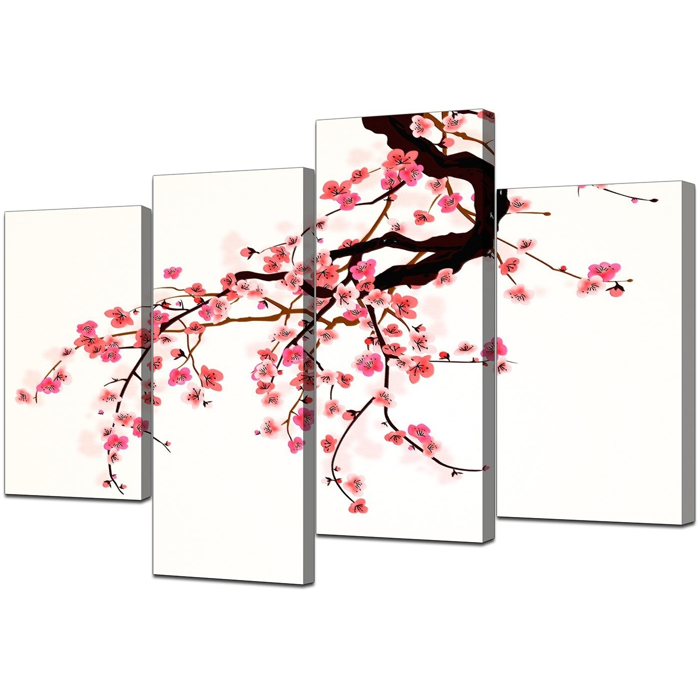 Most Up To Date Cherry Blossom Wall Art With Canvas Prints Uk Of Cherry Blossom For Your Living Room – Set Of  (View 10 of 20)