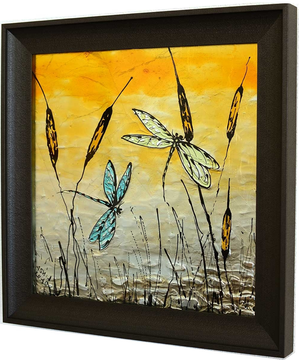 Most Up To Date Dragonfly Art Glass Tile – Painted Pictures Of Dragonflies Inside Dragonfly Painting Wall Art (View 13 of 20)