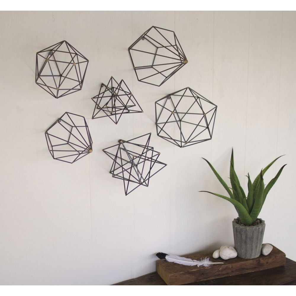 Most Up To Date Geometric Metal Wall Art Intended For Grey Metal Geometric Orb Wall Art Set (View 11 of 20)