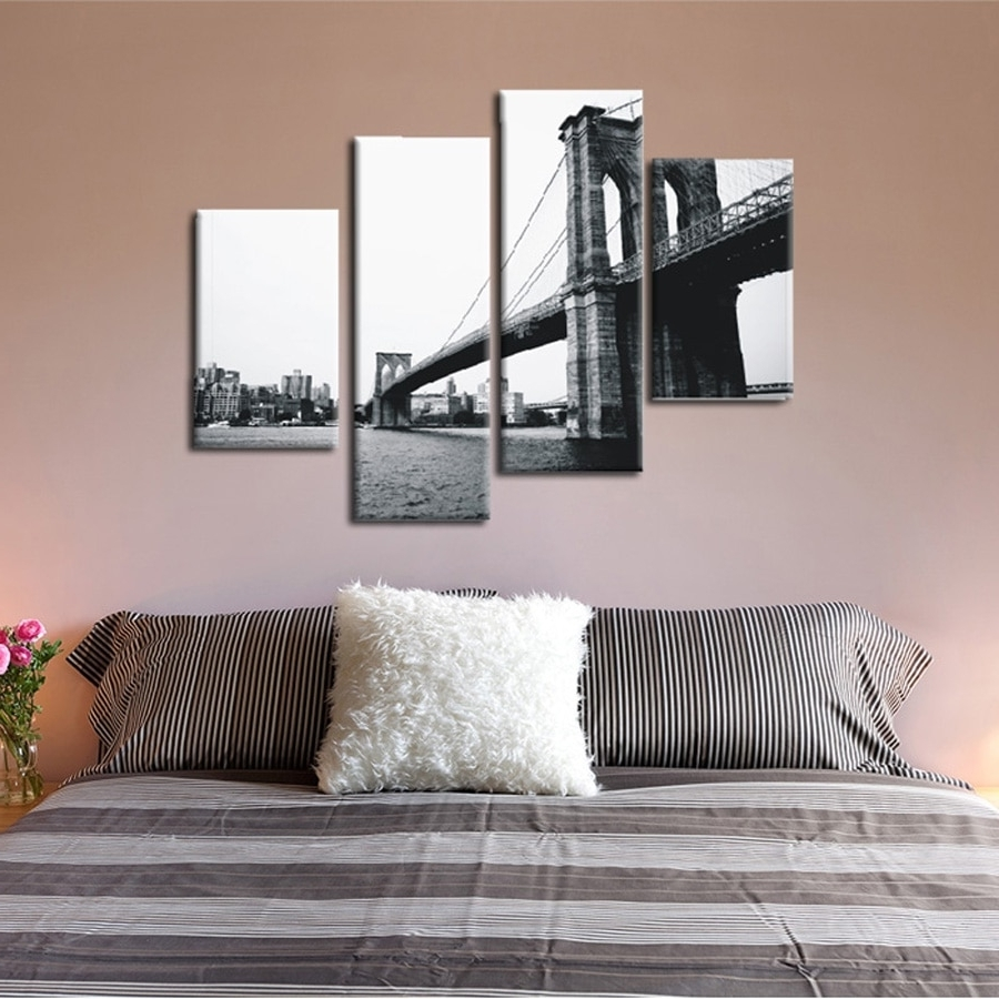 Most Up To Date Gray Canvas Wall Art Intended For 4 Piece Canvas Prints Christmas Gift Abstract Grey Canvas Wall Art (View 15 of 20)