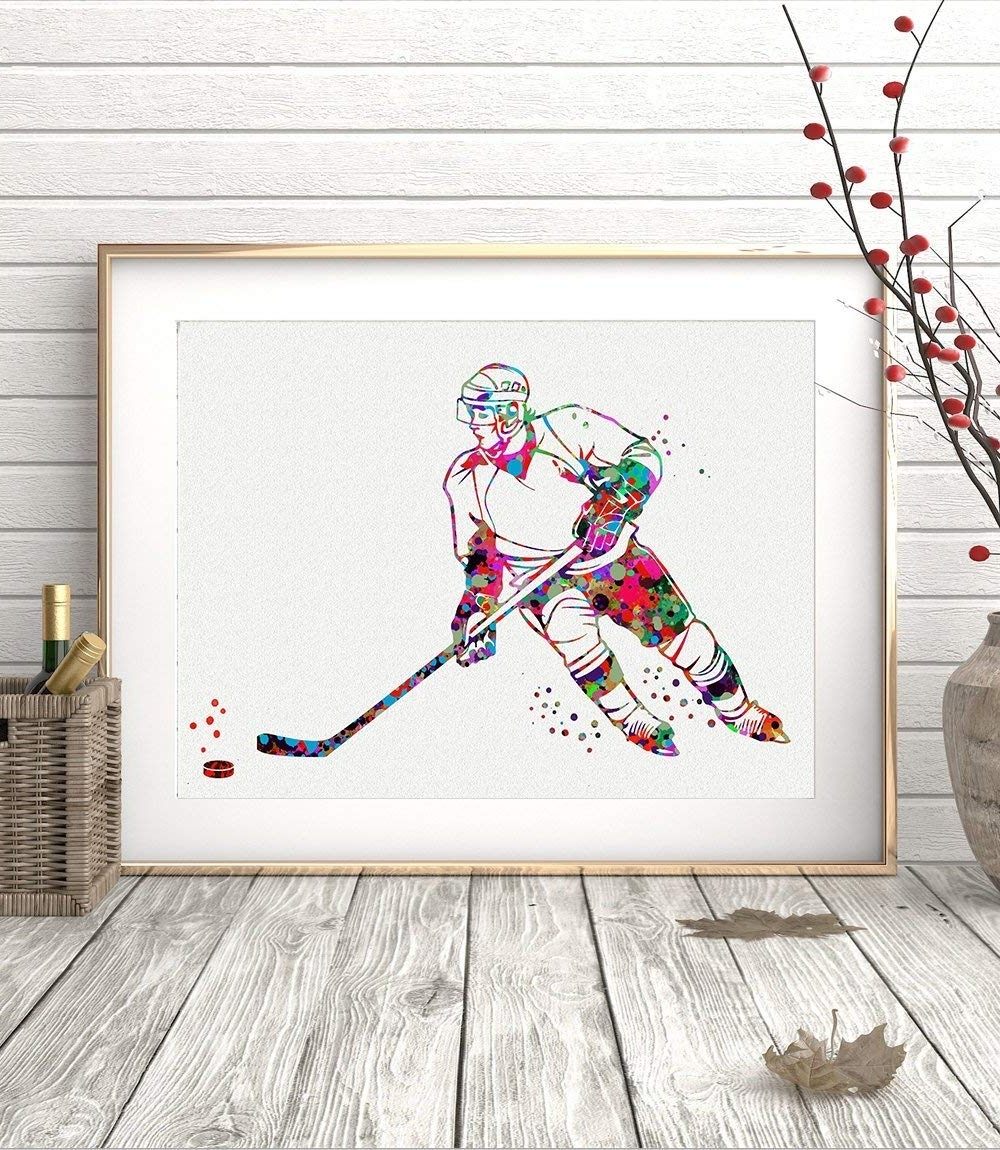 Most Up To Date Hockey Wall Art Regarding Ice Hockey Player Sports Watercolor Poster Art Prints Wall Decor (View 12 of 15)