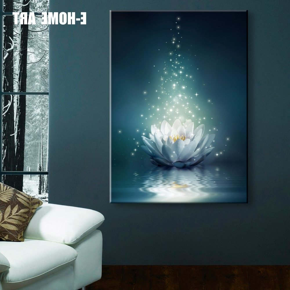 Most Up To Date Led Wall Art Inside Stretched Canvas Prints White Lotus On The Water Led Interstellar (View 12 of 20)