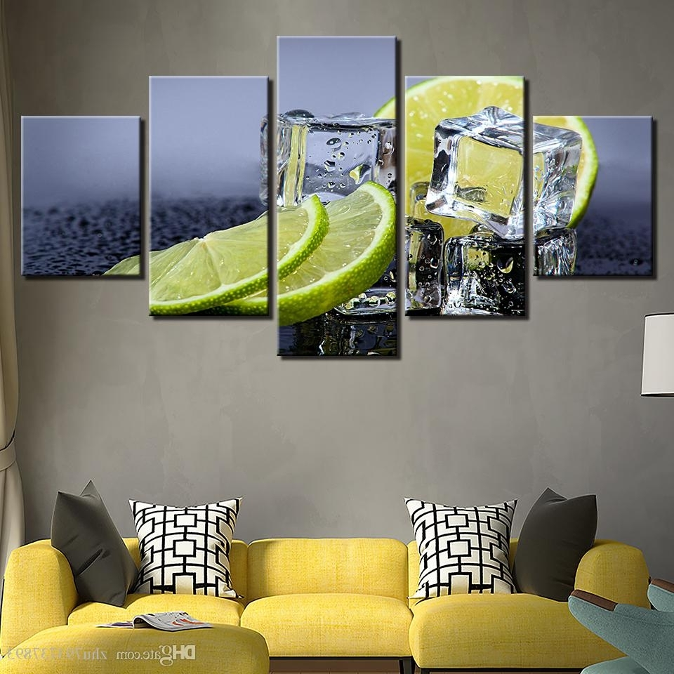Most Up To Date Lemon Wall Art For Canvas Prints Pictures Kitchen & Restaurant Lemon Ice Cubes (View 15 of 20)