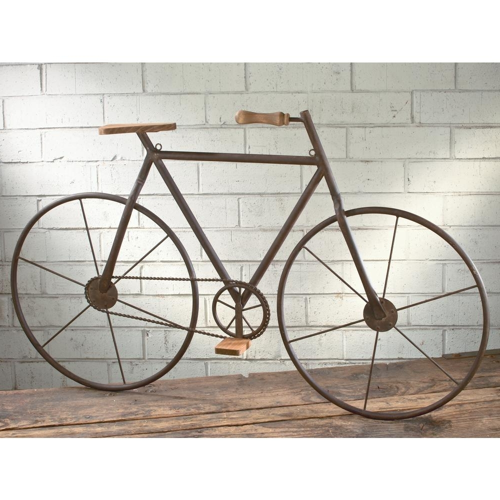 Most Up To Date Metal With Wood Brown Finish Bicycle Wall Art 16465 – The Home Depot With Bicycle Wall Art (View 15 of 20)