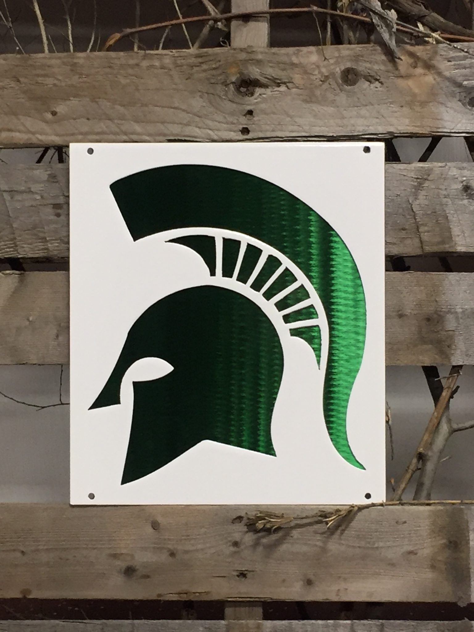 Most Up To Date Michigan Wall Art Pertaining To Michigan State Sparty On Logo Metal Wall Art (View 15 of 20)