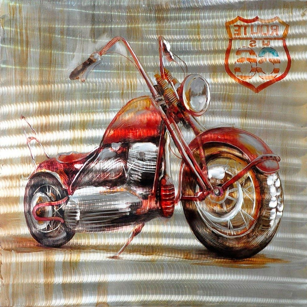 Most Up To Date Motorcycle Wall Art Pertaining To Amazon: 3D Wall Art,route 66 Motorcycle,oil Painting On Aluminum (Gallery 19 of 20)