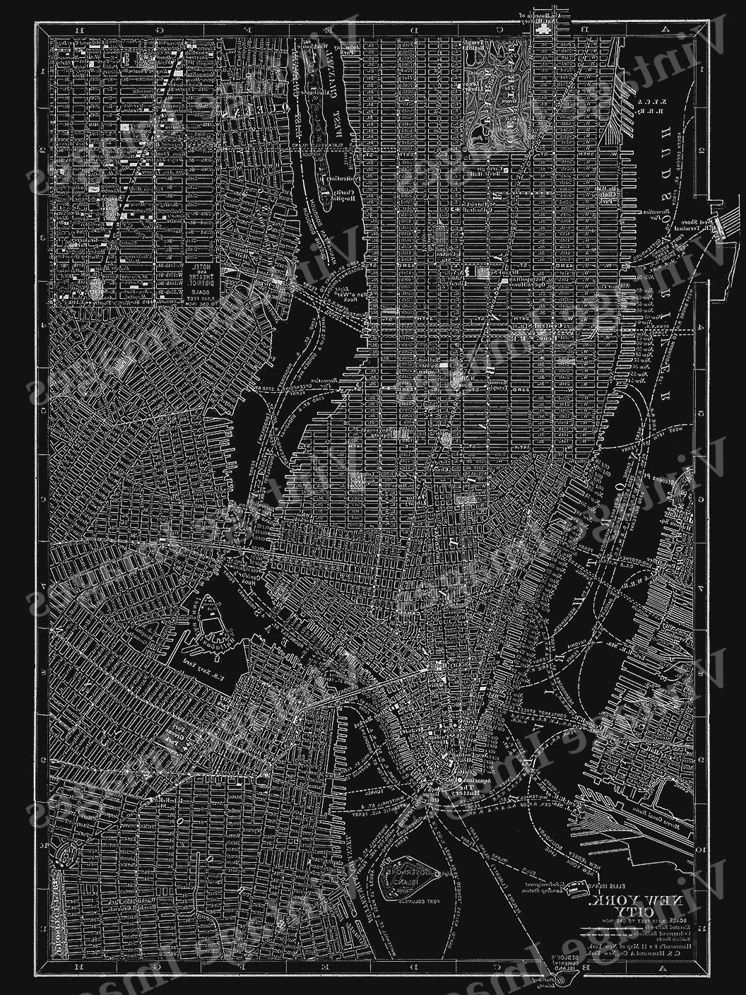 Most Up To Date New York City Map Wall Art With Regard To New York City Manhattan Street Map Vintage Black Poster New York (View 7 of 20)