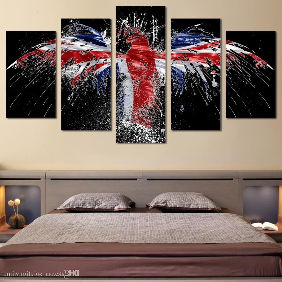 Most Up To Date Online Cheap Framed Hd Printed Flag Bird Logo Eagle Wall Art Canvas Regarding Bird Framed Canvas Wall Art (View 10 of 20)