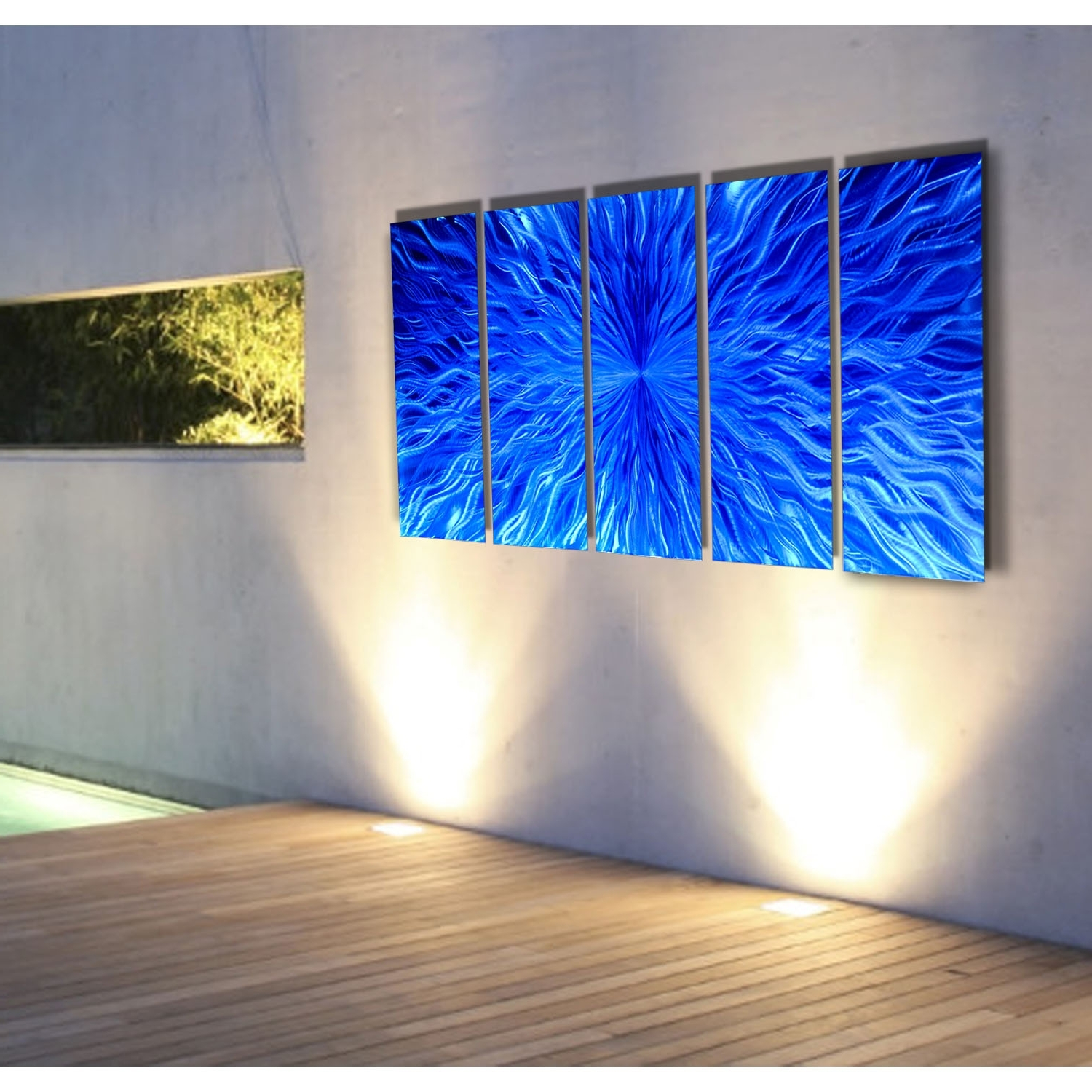 Most Up To Date Panel Wall Art Intended For Vitality In Blue – Blue Metal Wall Art – 5 Panel Wall Décorjon (View 6 of 20)