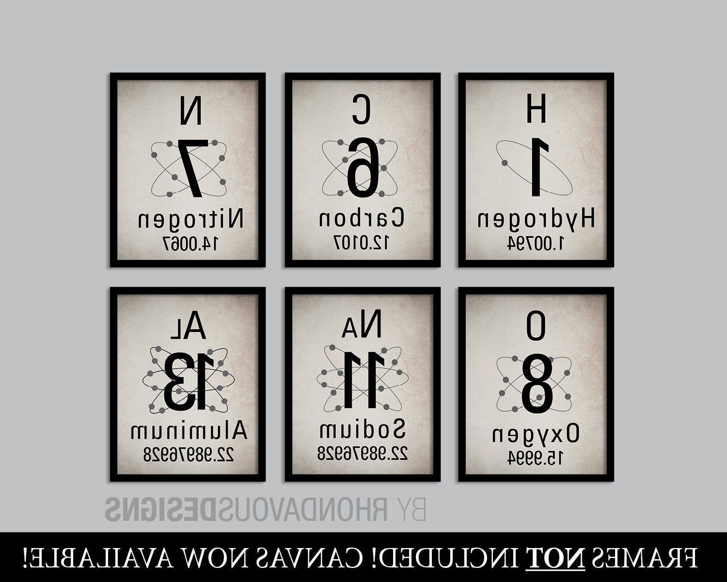 Most Up To Date Periodic Table Of Elements Print Set. Science Art (View 11 of 20)