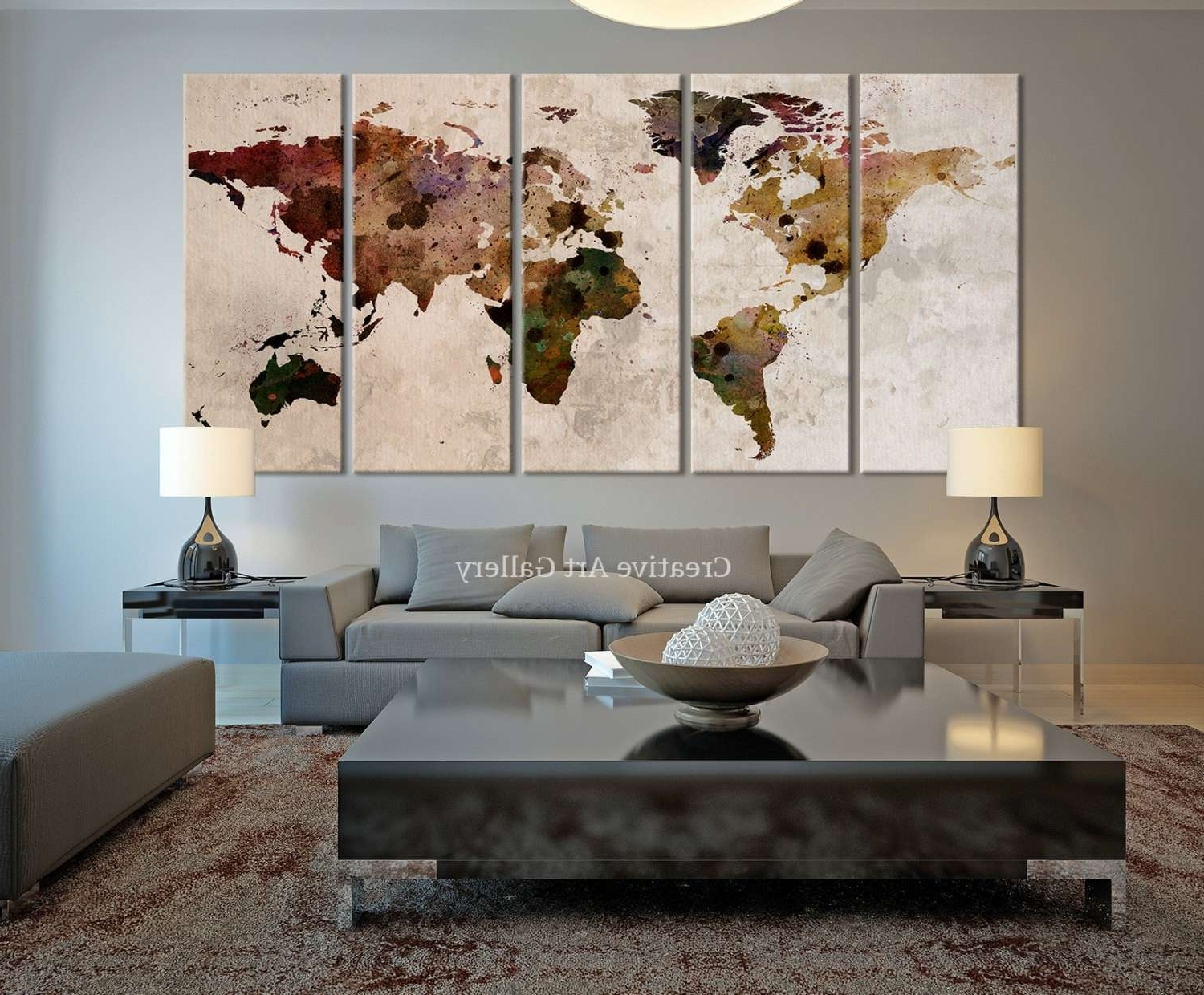 Most Up To Date Rustic Wall Decor Ideas New World Map Canvas Print Rustic World Intended For World Map Wall Art Canvas (View 7 of 20)