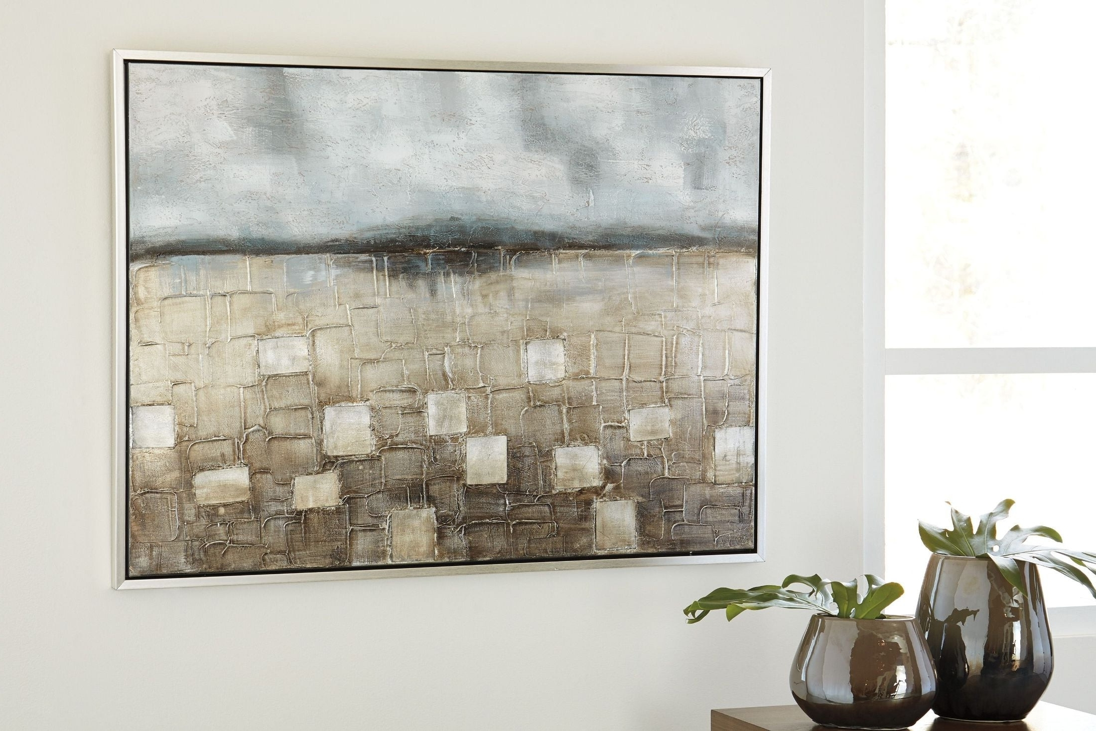 Most Up To Date Signature Designashley Dzigbode Blue And Silver Wall Art With Regard To Silver Wall Art (View 8 of 20)