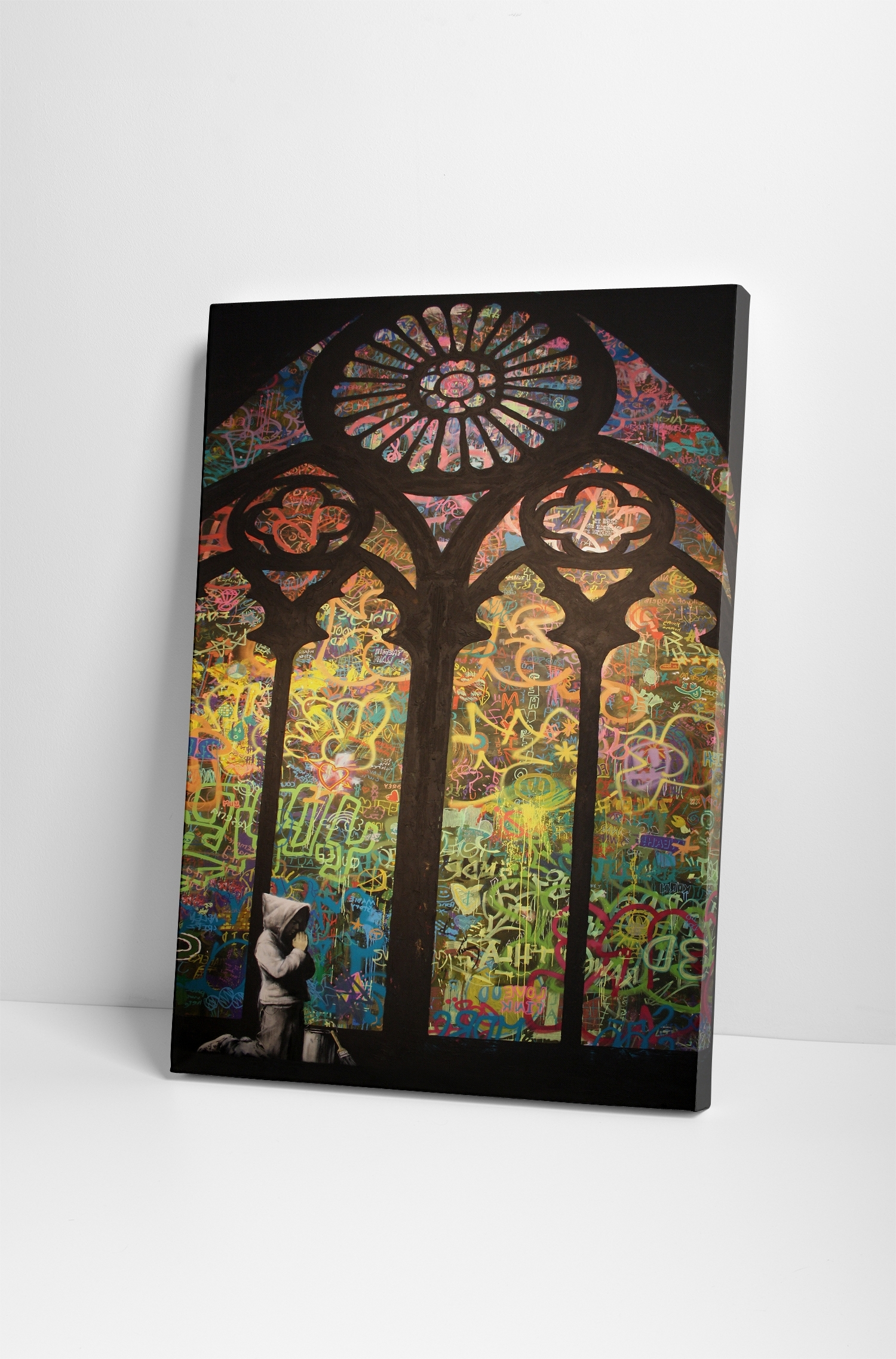 Most Up To Date Stained Glass Wall Art Throughout Banksy Stained Glass Cathedral Canvas Wall Art (View 6 of 20)