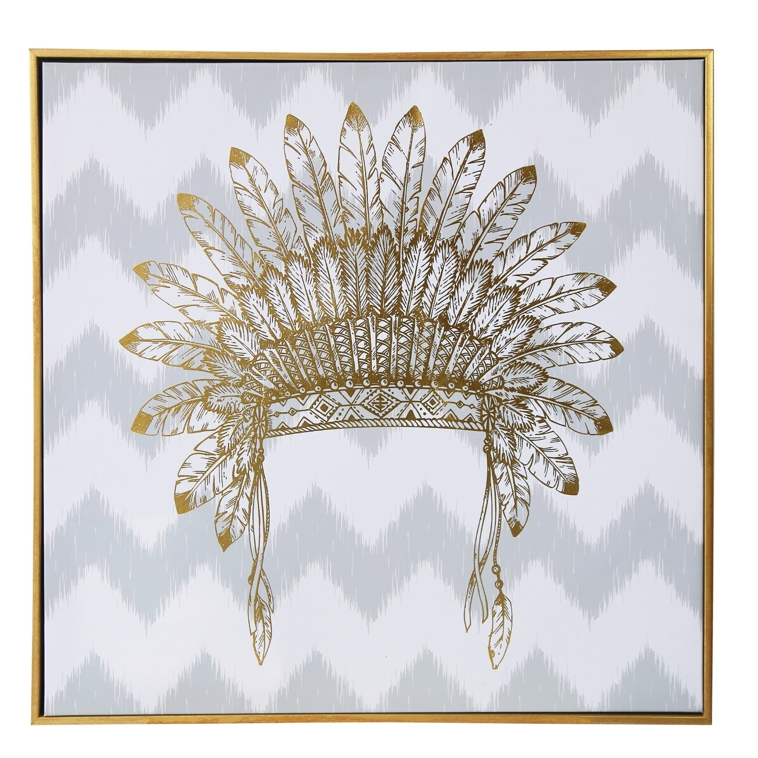 Most Up To Date Wall Art/canvas/mdf/perspex Frame/war Bonnet In Gold Foil/24*2*24 Throughout Gold Wall Art (View 13 of 15)