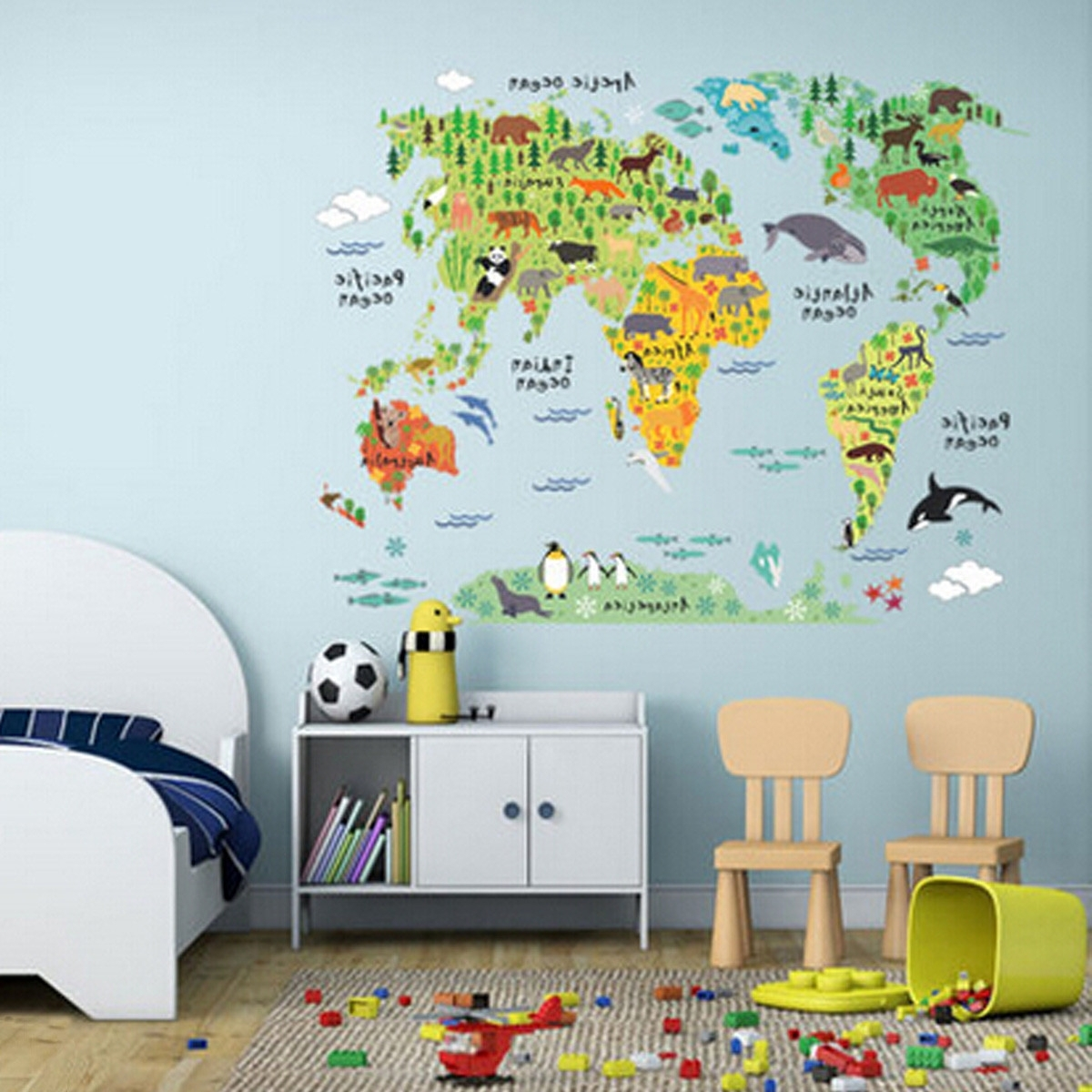 Most Up To Date World Map Wall Art For Kids Pertaining To 60*90Cm Pvc Colorful Animal Travel World Map Kids Room Decor Wall (View 12 of 20)