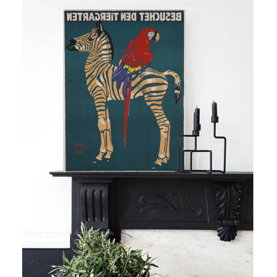 Most Up To Date Zebra Canvas Wall Art Inside Vintage Reissue Munich Zoo Zebra, Canvas Arthoxton Art House (View 7 of 20)