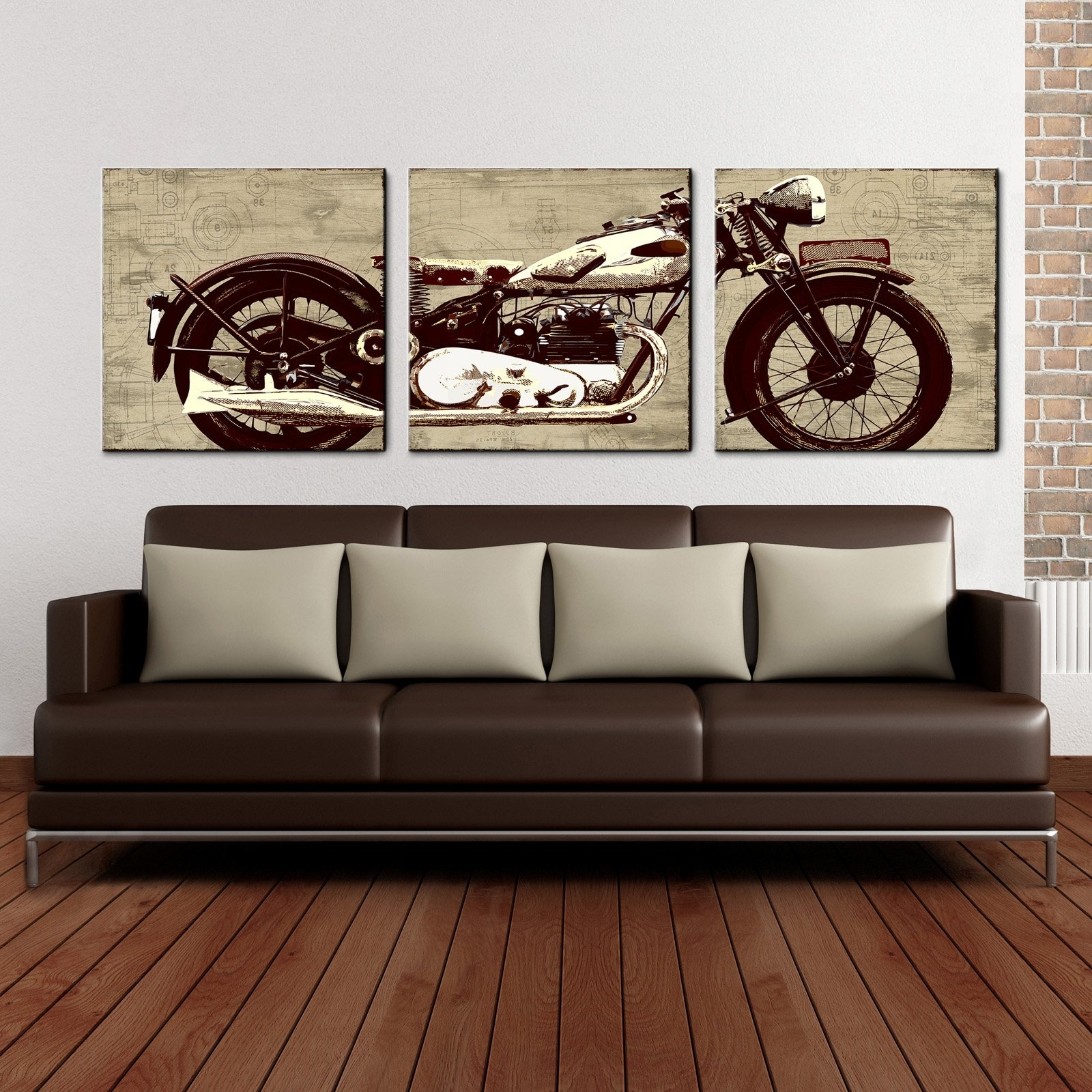 Motorcycle Wall Art Inside Best And Newest Motorcycle 24 X 72 Canvas Art Print Triptych – Walmart (View 11 of 20)