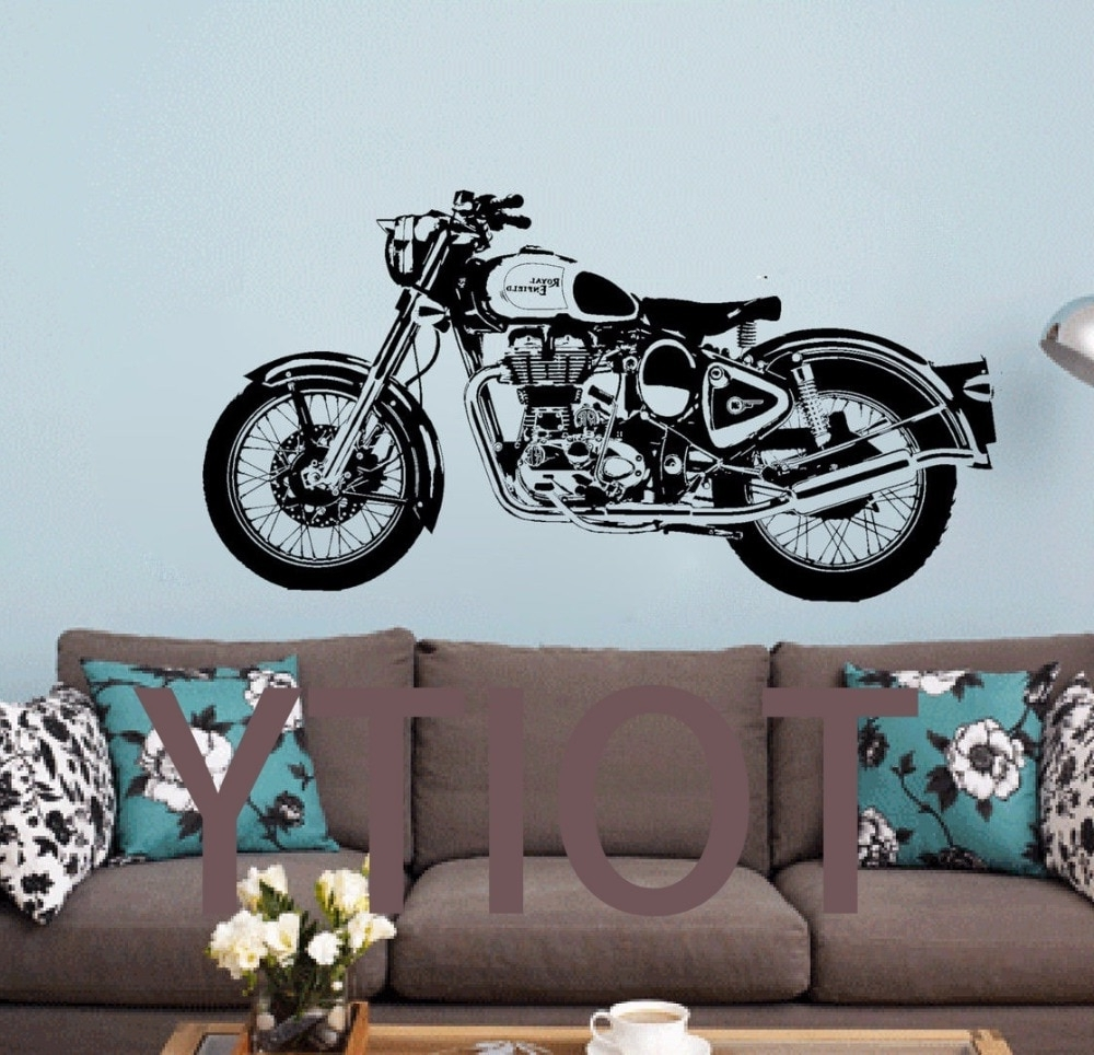 Motorcycle Wall Art Pertaining To Most Recently Released Royal Enfield Motorbike Wall Art Sticker Classic English Motorcycle (Gallery 12 of 20)