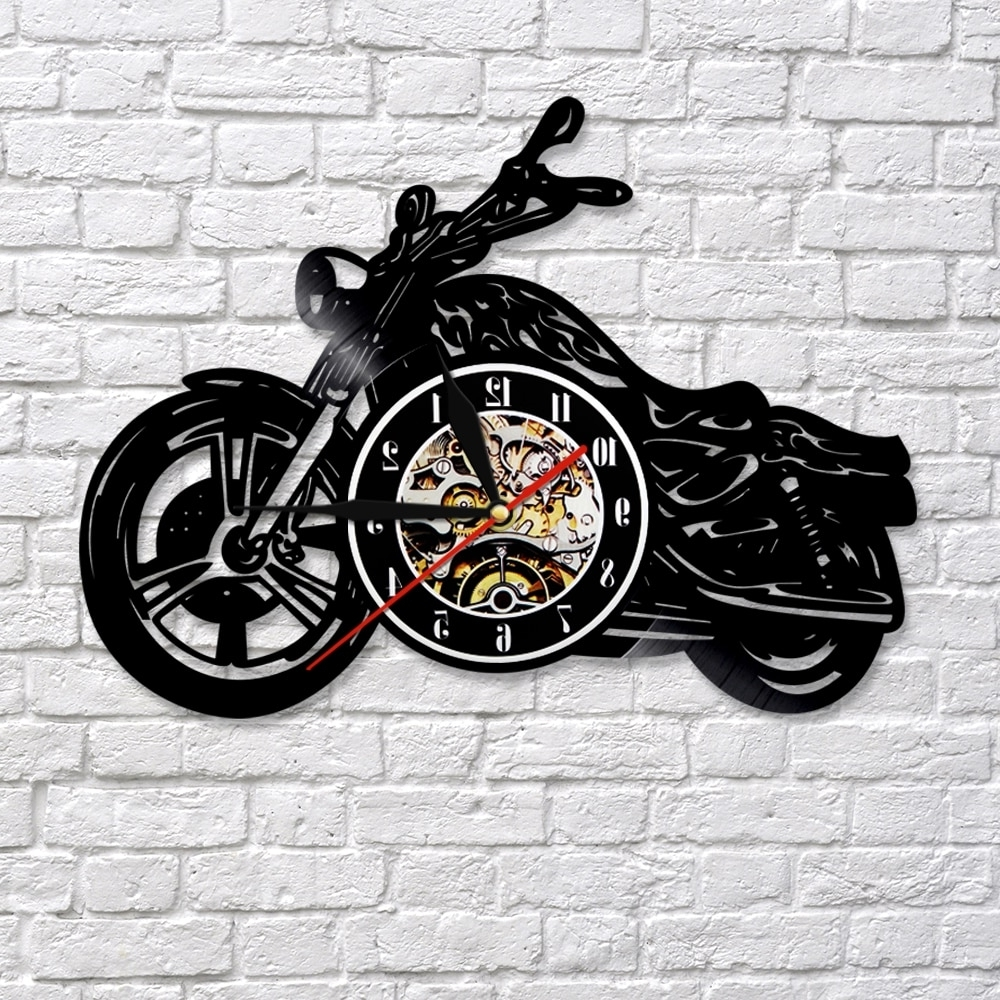 Motorcycle Wall Art Within Fashionable 1piece Motorcycle Vinyl Record 3d Wall Clock Motorcycle Art Decor (View 16 of 20)