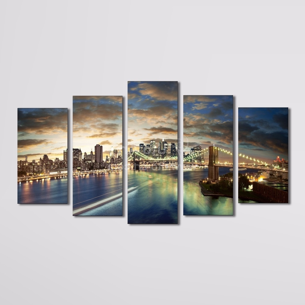 Multi Panel Wall Art Intended For Trendy Wall Art Designs: Multi Panel Wall Art Home Decor Canvas 5 Panel (View 12 of 15)