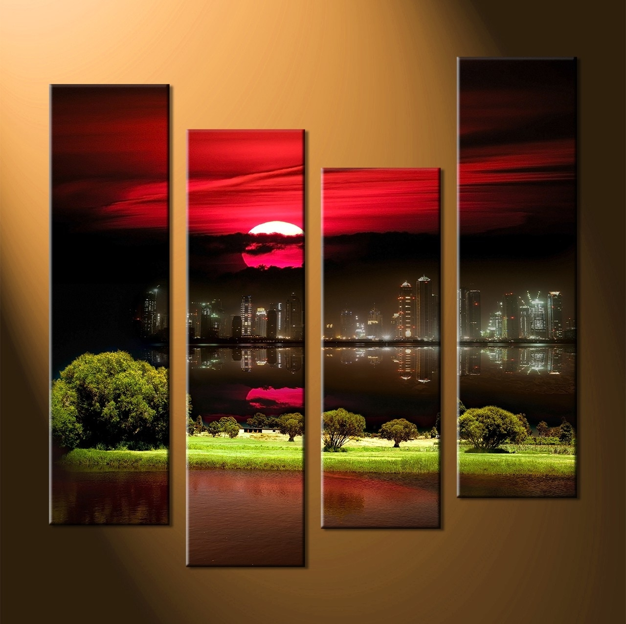 Multi Panel Wall Art Within Well Known Classy Red Abstract Flower Original Abstract Painting X (View 5 of 15)