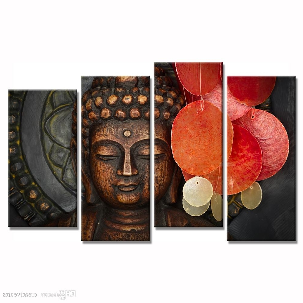 Multi Piece Wall Art In Widely Used 2018 Multi Pieces Buddha Canvas Wall Art For Living Room Decoration (View 11 of 20)