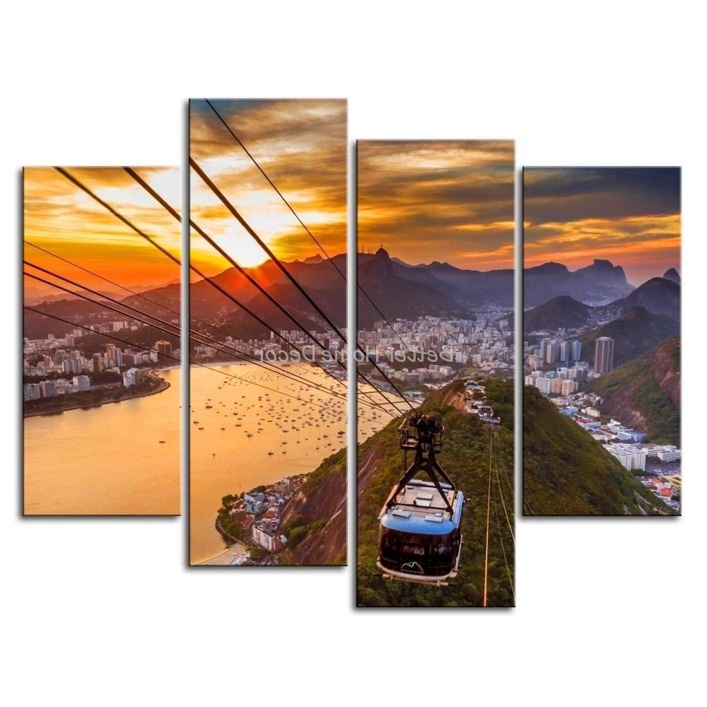 Multi Piece Wall Art Inside Newest 3 Piece Wall Art Painting Rio De Janeiro In Sunset Scene Print On (View 12 of 20)