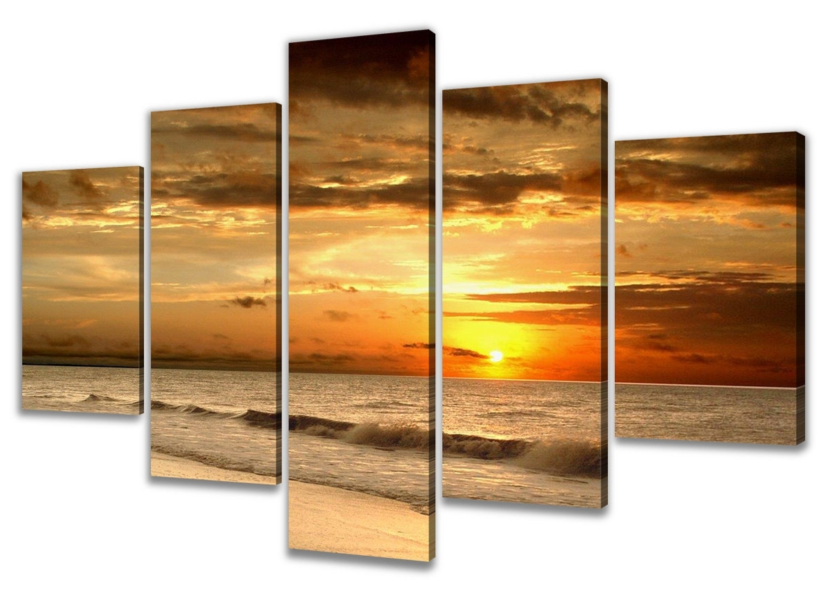 Multi Piece Wall Art With Most Recently Released Urban Designs 'beach' Multi Piece Image Photographic Print On Canvas (View 14 of 20)