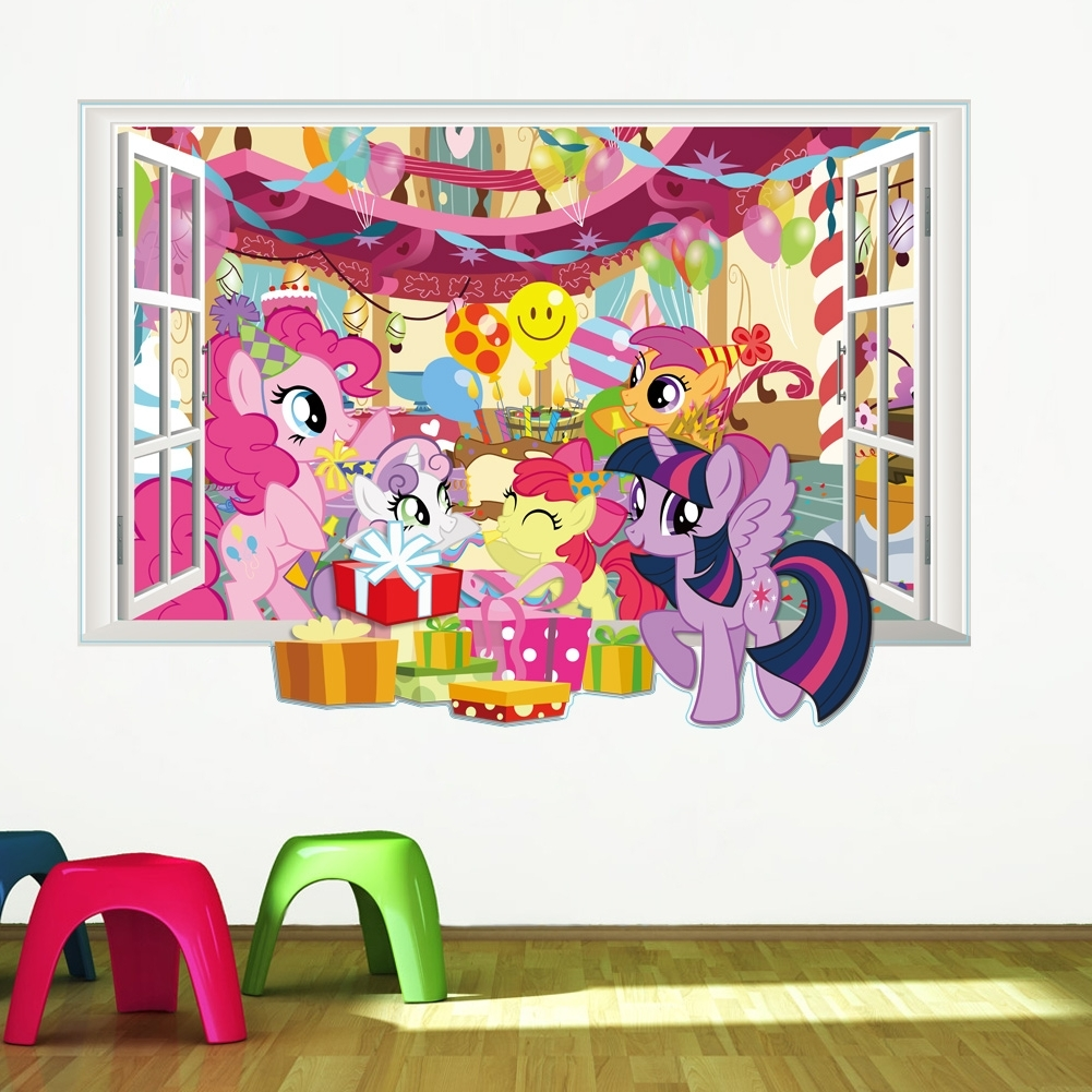 My Little Pony Wall Art Throughout Widely Used My Little Pony Wall Decals For Kids Room 3d Window Stickers Diy (View 5 of 20)