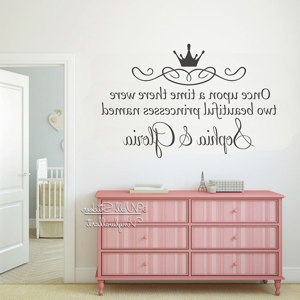 Name Wall Art For Fashionable Custom Twins Name Wall Sticker Girls Name Wall Art Decal Children (Gallery 7 of 20)