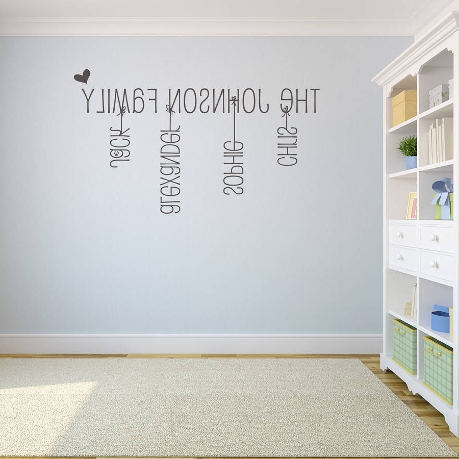 Name Wall Art Throughout Fashionable Majestic Last Name Wall Art Home Design Ideas Family Stickercom (Gallery 6 of 20)