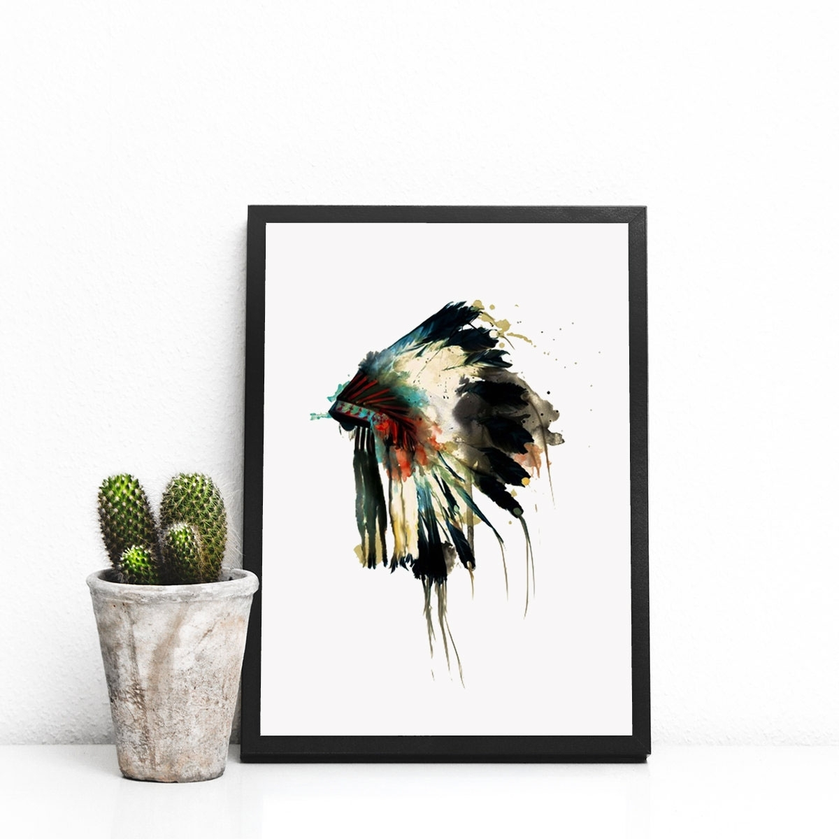 Native Indian American Headdress Art Print Feather Wall Art Wall In Trendy Feather Wall Art (Gallery 18 of 20)