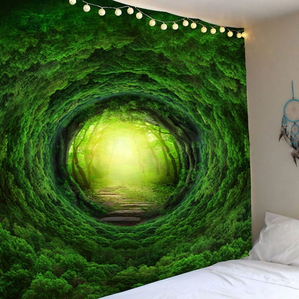 Nature Wall Art Regarding Well Liked 2018 Nature Tree Hole Wall Art Tapestry Green W Inch L Inch In Wall (View 5 of 20)