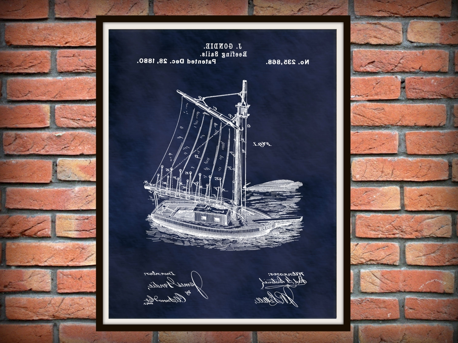 Nautical Wall Art With Most Recent Patent 1880 Sailboat Reefing Sails – Art Print – Poster Print (View 8 of 15)