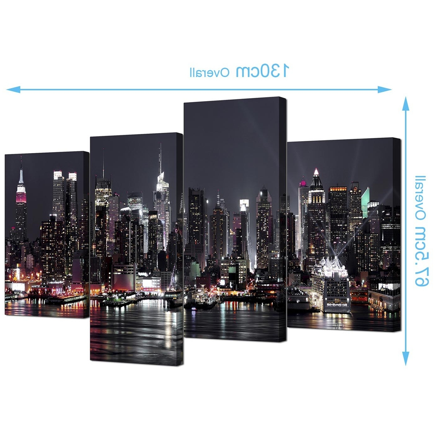 New York Canvas Wall Art Inside Widely Used Canvas Pictures Of New York Skyline For Your Living Room – 4 Panel (View 10 of 15)