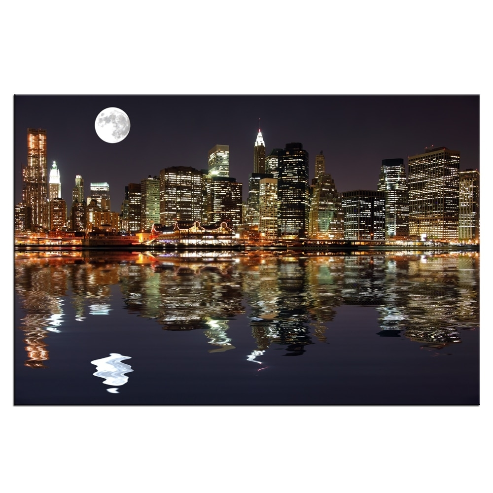 New York Canvas Wall Art With Regard To Trendy New York Night View Picture Canvas Prints Manhattan Skyline Moon (View 12 of 15)