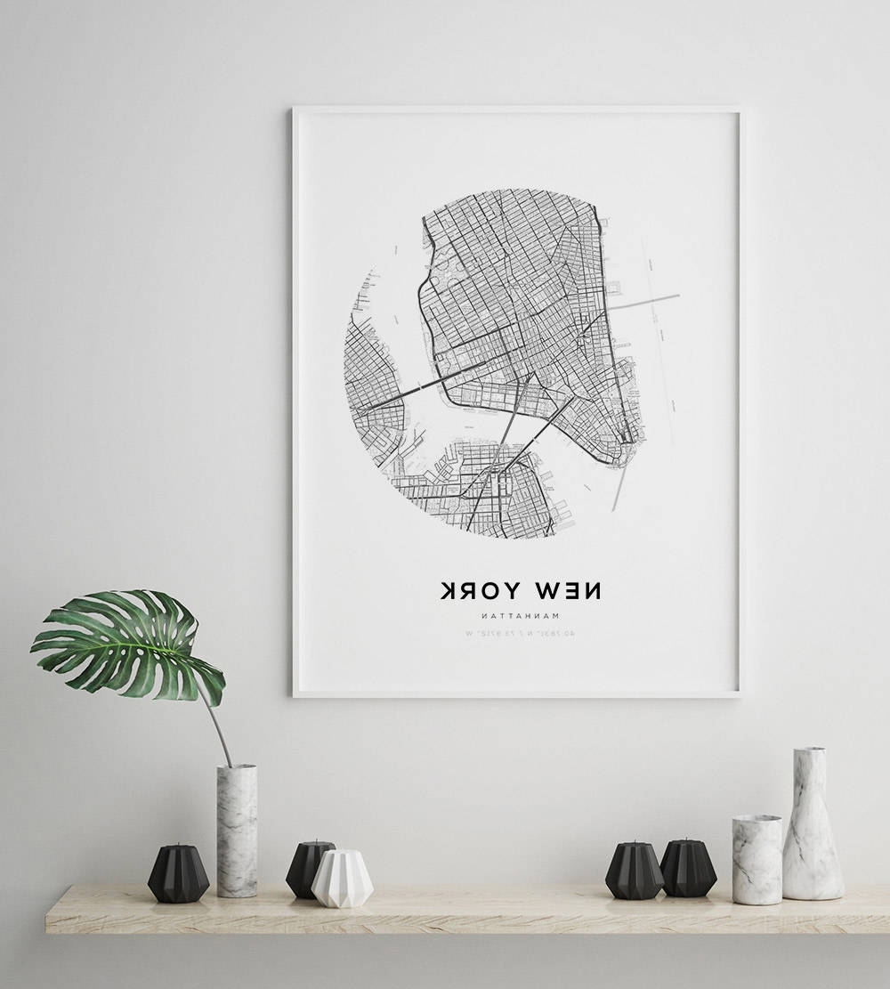 New York City Map, Ny Map Art, Modern Minimalist, Nyc Map Poster Within Well Known New York City Map Wall Art (Gallery 7 of 20)