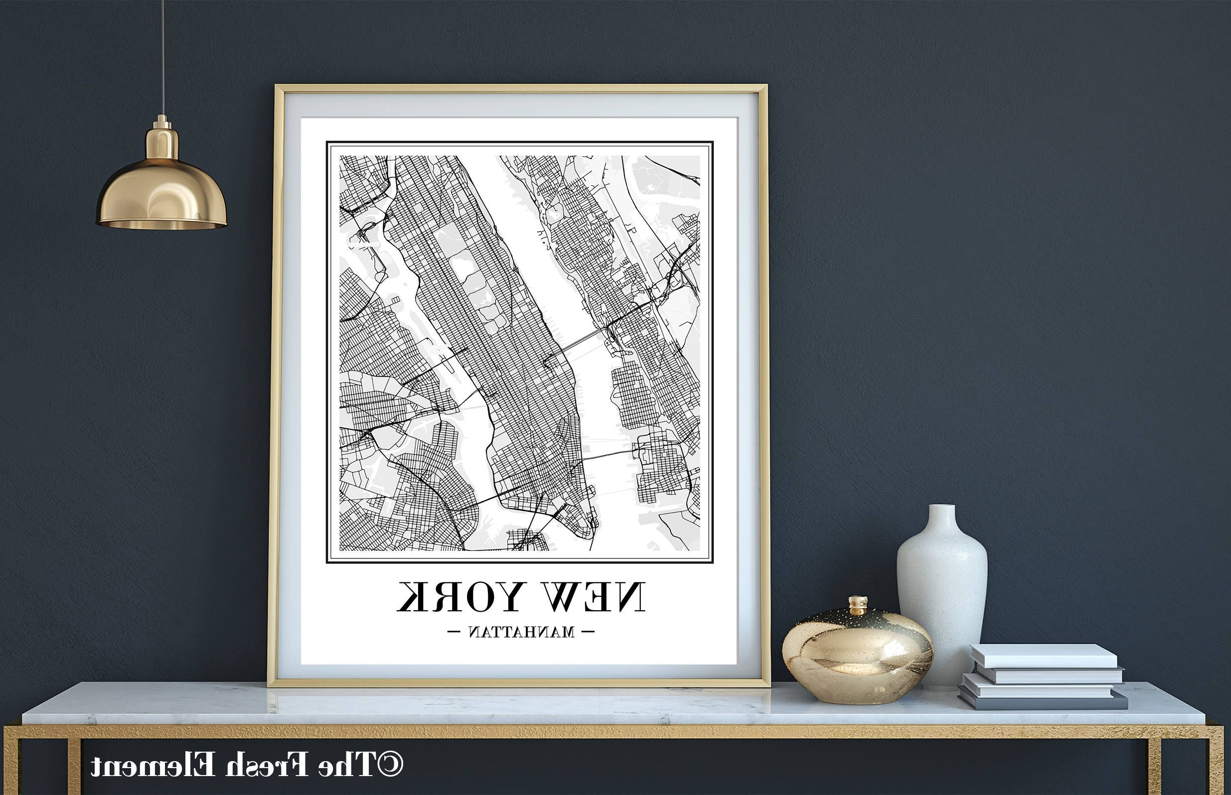 New York City Map Wall Art Throughout Best And Newest New York City Map Print New York Map Print Printable Map Ny Map Art (Gallery 1 of 20)