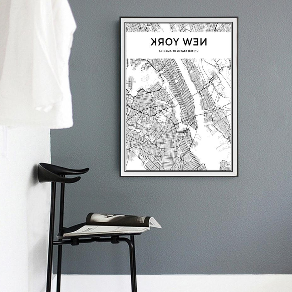 New York City Map Wall Art With Regard To Fashionable 2018 Minimalist New York City Map Canvas Painting Black And White (View 10 of 20)