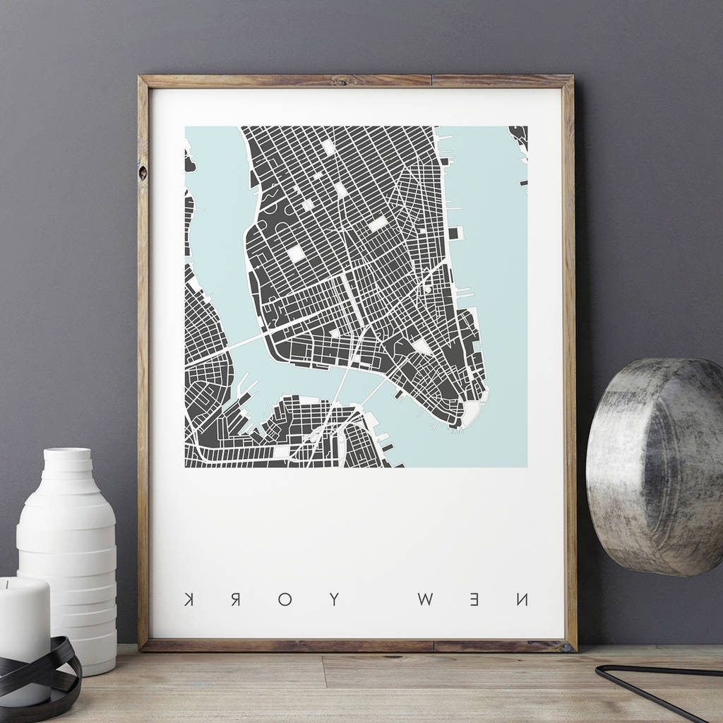 New York City Map Wall Art With Regard To Newest New York Map Art Print Limited Editionbronagh Kennedy – Art (View 11 of 20)