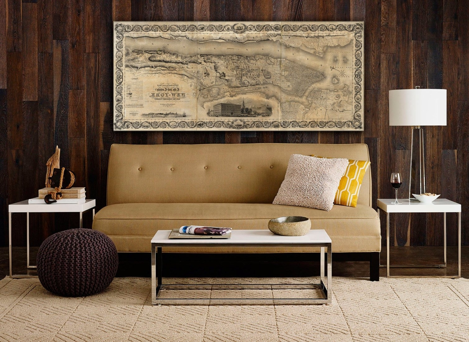 New York City Map Wall Art With Widely Used Giant Vintage New York City Map Old Antique Restoration Decor Style (View 12 of 20)