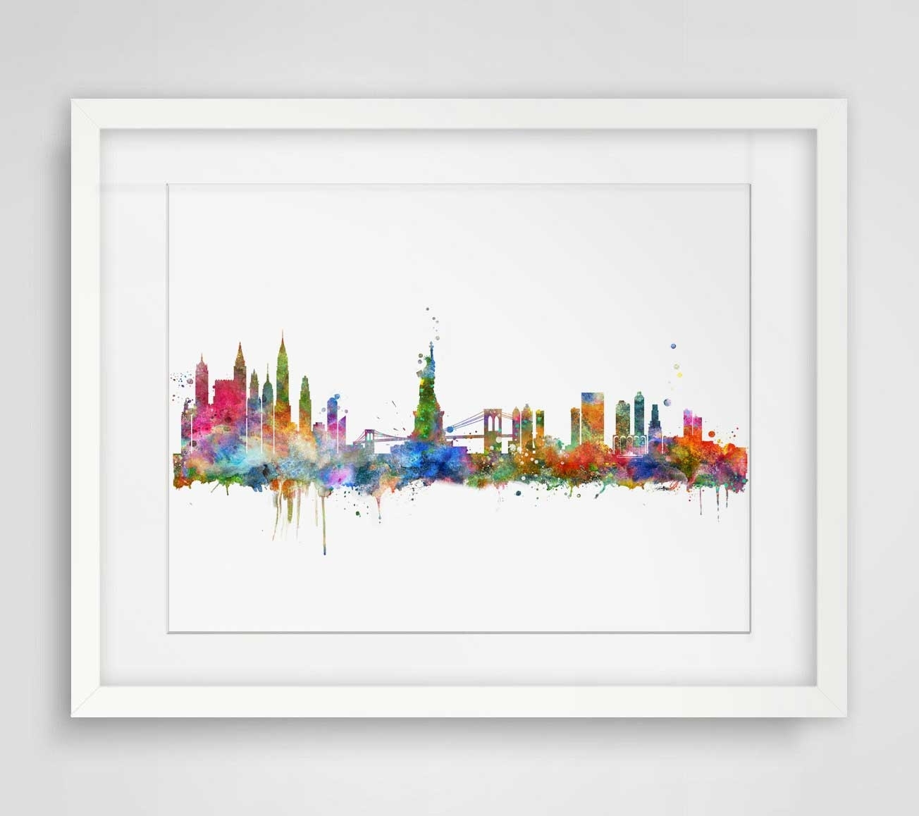 New York City Skyline Watercolor Poster Ny City Map Skyline Art With Regard To Well Known Map Wall Art Prints (View 16 of 20)