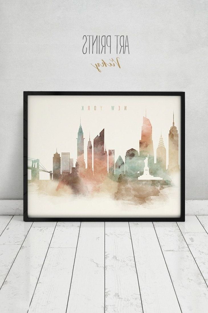 New York Wall Art Pertaining To Preferred New York Art Print, Watercolor Poster, Nyc, Travel, Cityscape (Gallery 13 of 20)