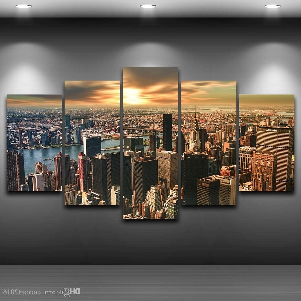 New York Wall Art Within Most Current 2018 Hd Printed Framed New York City Sunset Landscape Home Decor (View 8 of 20)