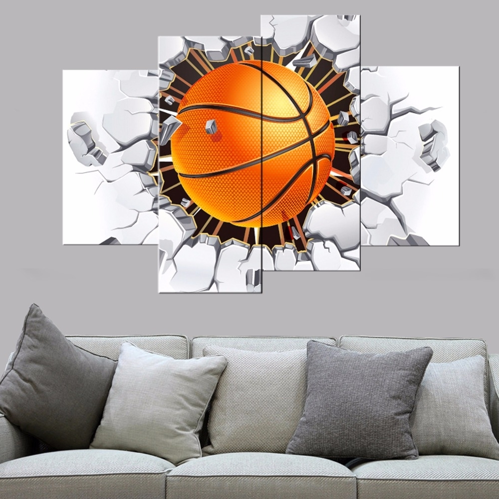 Newest 4 Pcs Modern Basketball Canvas Print Poster Bedroom Wall Art Canvas Intended For Basketball Wall Art (View 13 of 15)