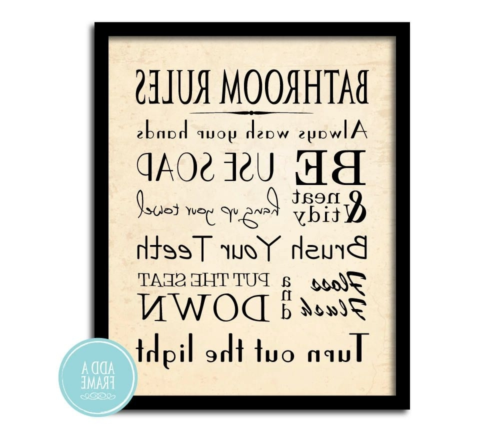 Newest Bathroom Rules Wall Art In Bathroom Wall Art – Word Art Print – Bathroom Rules – Typography Art (View 12 of 20)