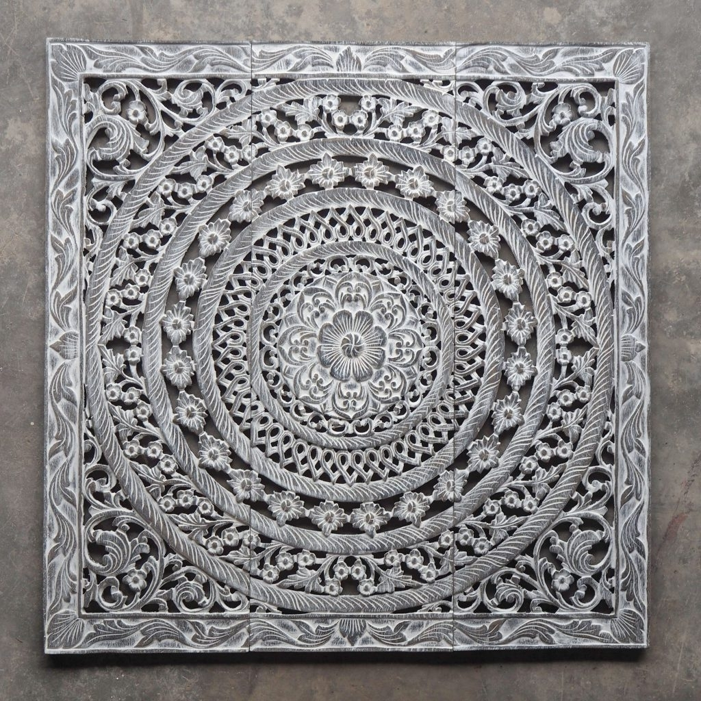 Newest Carved Wood Wall Art With Morrocan Design Carved Wood Wall Art Panel From Thailand Distress (View 13 of 15)