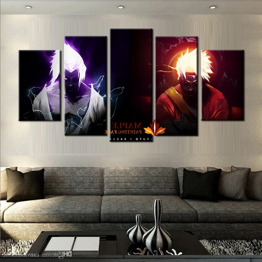 Newest Cheap Canvas Wall Art Pertaining To 2018 Wholesale 5 Panels Canvas Printings Naruto Vs Sasuke Home Decor (View 10 of 15)